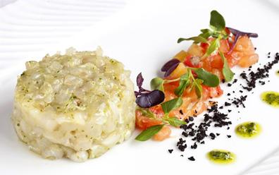 Tartar de dorada con verduras del Mediterráneo del restaurante La Boella