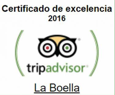 Certificado Excelencia Tripadvisor 2016