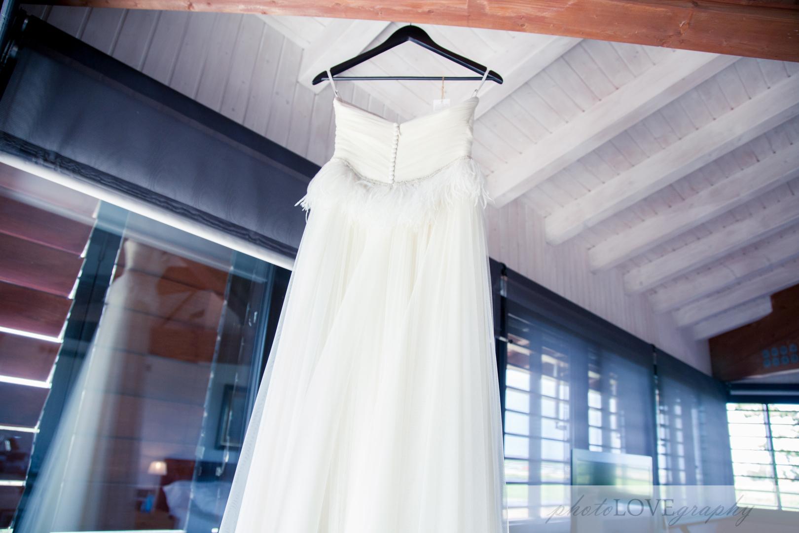 Vestido de boda en Hotel Mas La Boella